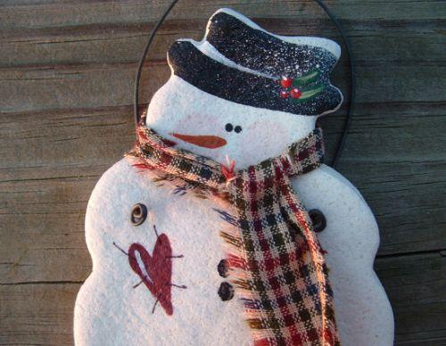 Новогодние поделки из соленого теста: снеговик, фото.